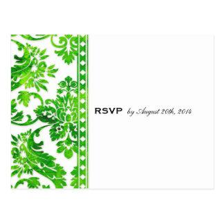 Emerald Vintage Damask Lace Wedding RSVP Postcard