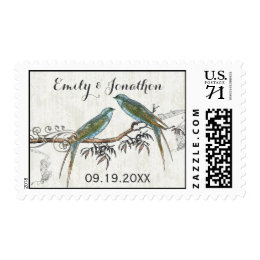 Emerald Vintage Love Birds Wedding Stamps