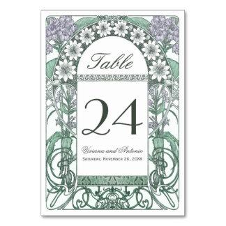 Emerald Violet Garden Wedding Table Numbers