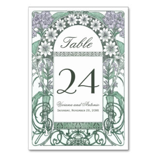 Emerald Violet Garden Wedding Table Numbers Card