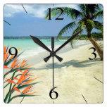 Emerald Waters Bird of Paradise Beach Square Wall Clock