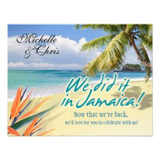 Emerald Waters Reception Card Jamaica Custom Invitation