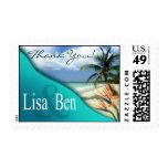 Emerald Waters Tropical Beach aqua Stamp