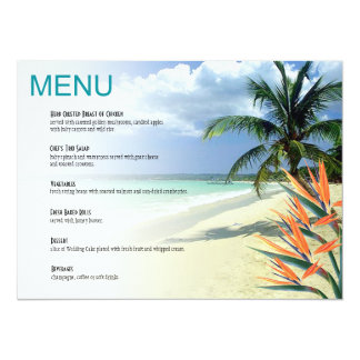 Emerald Waters Tropical Beach Wedding Menu | aqua Card