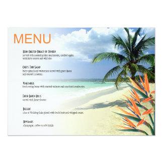 Emerald Waters Tropical Beach Wedding Menu papaya 5.5x7.5 Paper Invitation Card