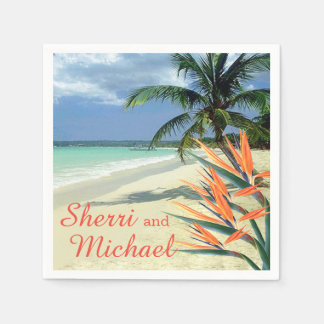 EMERALD WATERS Tropical Beach Wedding Paper Napkin