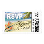 EMERALD WATERS Tropical Beach Wedding RSVP Postage