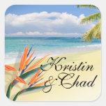 EMERALD WATERS Tropical Beach Wedding Square Sticker