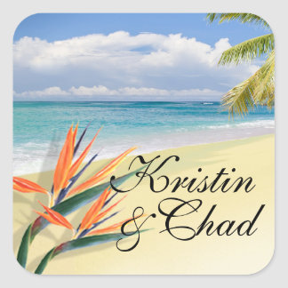EMERALD WATERS Tropical Beach Wedding Square Sticker