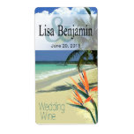 Emerald Waters Tropical Beach Wedding Wine Custom Shipping Label