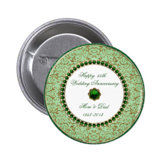 Emerald Wedding Anniversary Button