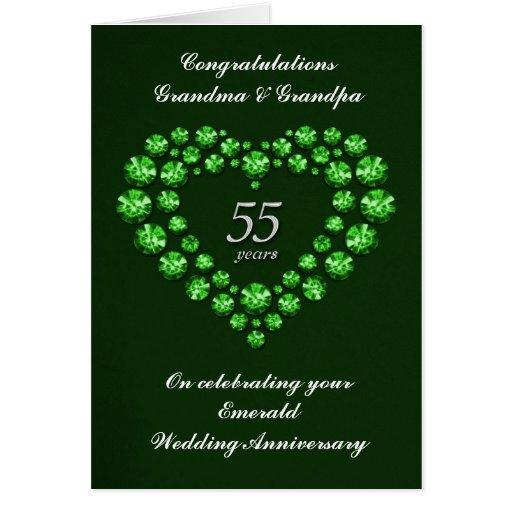 Wedding Anniversary Gifts By Year Nz : Emerald Wedding Anniversary Card55 Years Zazzle