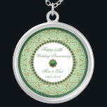 """Emerald Wedding Anniversary Necklace<br><div class=""""desc"""">A Digitalbcon Images Design featuring an Emerald Green color theme with a variety of custom images, shapes, patterns and styles in this one-of-a-kind &quot;55th Wedding Anniversary&quot; Necklace. This elegant and colorful design makes the ideal gift for the Anniversary gift for the wife or as a gift for family and friends...</div>"""