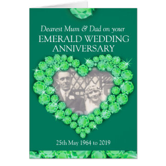 Emerald wedding anniversary parents photo card