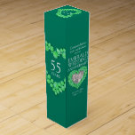 """Emerald wedding sparkle stones photo wine box<br><div class=""""desc"""">55th Emerald Anniversary gift wine or spirits box. Beautiful green emeralds in hearts with photo stone template emerald Wedding Anniversary wine box packaging. Customize with your own recipients name or relatives details and photo. The 55th Anniversary year is traditionally associated with emerald's. Currently reads Congratulations Kathy and Richardo on your...</div>"""