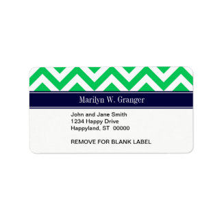 Emerald White LG Chevron Navy Blue Name Monogram Personalized Address Labels