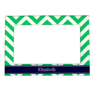 Emerald White LG Chevron Navy Blue Name Monogram Frame Magnets