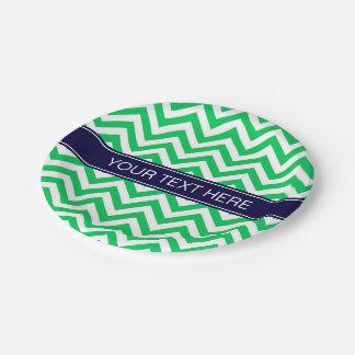 Emerald White LG Chevron Navy Blue Name Monogram Paper Plate