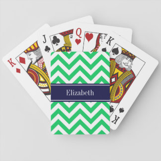 Emerald White LG Chevron Navy Blue Name Monogram Playing Cards