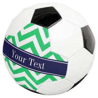 Emerald White LG Chevron Navy Blue Name Monogram Soccer Ball