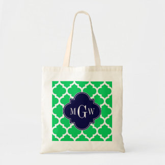 Emerald White Moroccan #5 Navy 3 Initial Monogram Tote Bags
