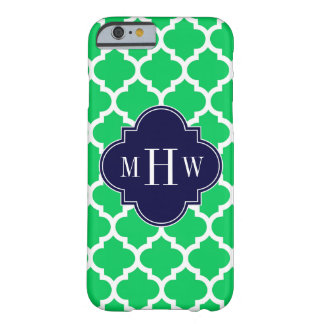 Emerald White Moroccan #5 Navy 3 Initial Monogram Barely There iPhone 6 Case