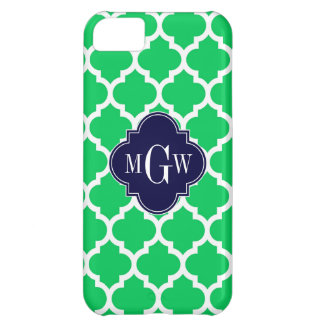 Emerald White Moroccan #5 Navy 3 Initial Monogram Case For iPhone 5C