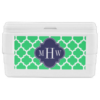 Emerald White Moroccan #5 Navy 3 Initial Monogram Chest Cooler