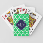 """Emerald White Moroccan #5 Navy 3 Initial Monogram Playing Cards<br><div class=""""desc"""">Emerald Green and White Moroccan Quatrefoil Trellis Pattern #5, Navy Blue Quatrefoil 3 Initial Monogram Label Customize this with your 3 initial monogram, name or other text. You can also change the font, adjust the font size and font color, move the text to adjust letter spacing, etc. Please note that...</div>"""