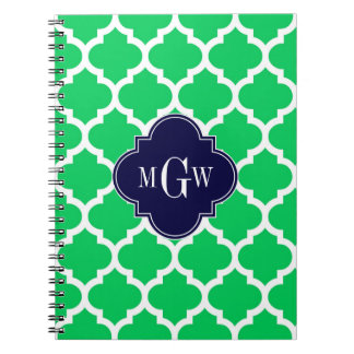 Emerald White Moroccan #5 Navy 3 Initial Monogram Spiral Notebook