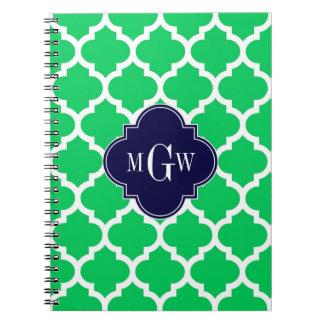 Emerald White Moroccan #5 Navy 3 Initial Monogram Spiral Notebook