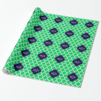Emerald White Moroccan #5 Navy 3 Initial Monogram Wrapping Paper