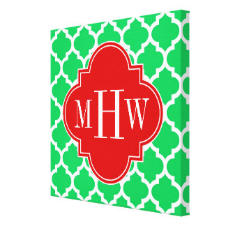 Emerald White Moroccan #5 Red 3 Initial Monogram Canvas Print