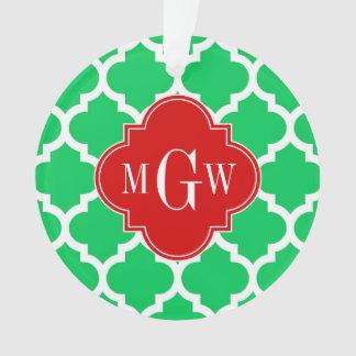 Emerald White Moroccan #5 Red 3 Initial Monogram Ornament