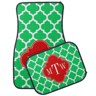 Emerald White Moroccan #5 Red 3 Initial Monogram Floor Mat