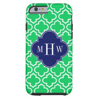 Emerald White Moroccan #6 Navy 3 Initial Monogram Tough iPhone 6 Case