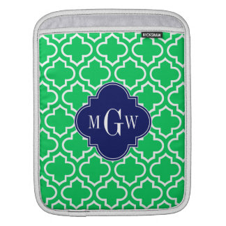 Emerald White Moroccan #6 Navy 3 Initial Monogram Sleeve For iPads