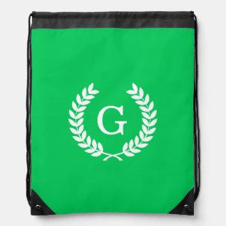Emerald White Wheat Laurel Wreath Initial Monogram Drawstring Bag