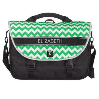 Emerald Wht Chevron Zigzag 7P Black Name Monogram Laptop Computer Bag