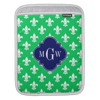 Emerald Wht Fleur de Lis Navy 3 Initial Monogram iPad Sleeve