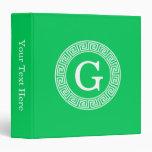 Emerald Wht Greek Key Rnd Frame Initial Monogram Vinyl Binders