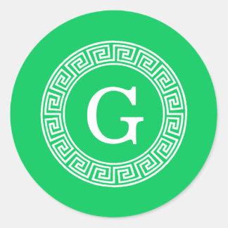 Emerald Wht Greek Key Rnd Frame Initial Monogram Classic Round Sticker