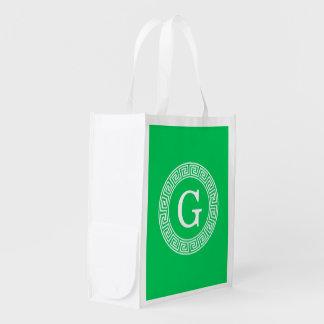 Emerald Wht Greek Key Rnd Frame Initial Monogram Grocery Bag