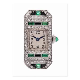 Emeralds Diamonds Art Deco Watch Design Postcard
