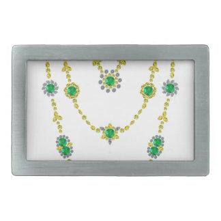 Emeralds in Chains Belt Buckles