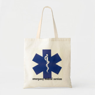 emergancy medical services first aid bad budget tote bag