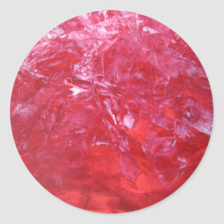 Emerge contemporary abstract carnation red floral classic round sticker