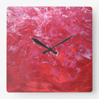 Emerge Red Carnation Floral White Abstract Art Square Wall Clock