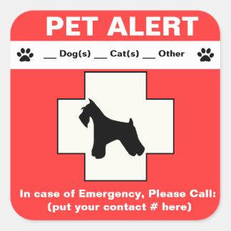 Emergencia alerta del mascota pegatina cuadrada