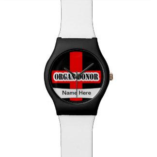 Emergencia alerta médica del donante de órganos relojes de pulsera